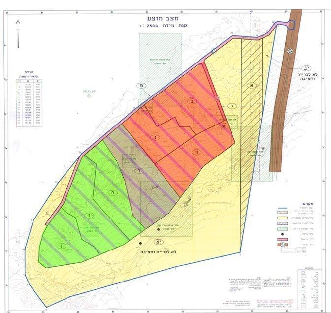 תכנית המחצבה:  ירוק - שוקם  אפור - ממתין לשיקום אדום - חודשה הכרייה