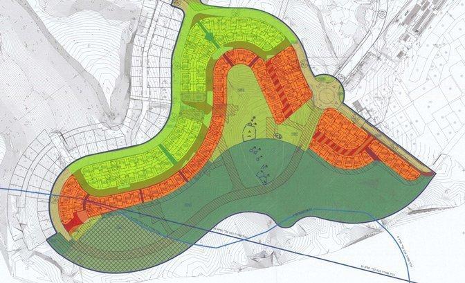 מפת השכונה - המגרשים בכתום נגרעו בהחלטת הועדה המחוזית דרום