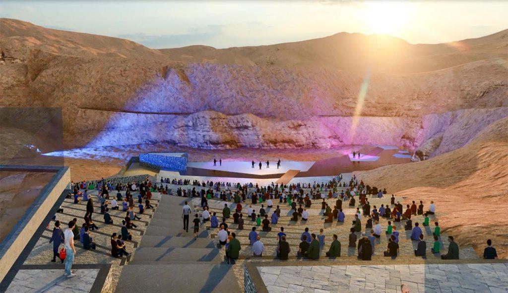 הדמיית אמפיסטאר בלב מכתש רמון, מתוך מצגת משרד התיירות שהוצגה בפני הועדה המחוזית מחוז דרום במאי 2021